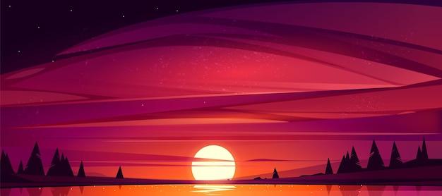 Zonsondergang op het meer, rode lucht met zon die de vijver ondergaat, omringd door bomen