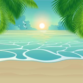 Zonsondergang op het tropische eiland