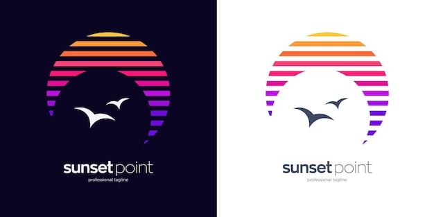 Zonsondergang punt logo ontwerp
