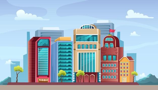 Zonsondergang stadsgezicht. gedetailleerde illustratie.