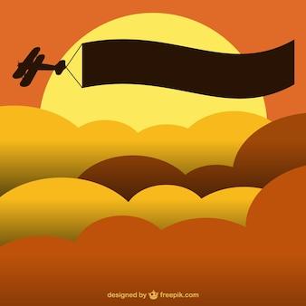 Zonsondergang vliegtuig bannermalplaatje