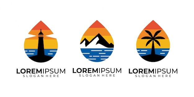 Zonsondergang, zee, berg, boom, vuurtoren en strand logo ontwerp