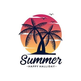 Zonsondergang zomer strand logo