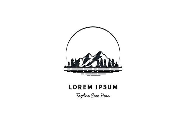 Zonsondergang zonsopgang pine cedar spar conifer lariks cypress evergreen fir trees bos met lake river creek line style logo design vector