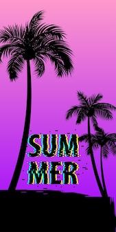 Zonsondergang zonsopgang tropische palmen boom met bladeren reisparadijs geïsoleerde set