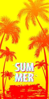 Zonsondergang zonsopgang tropische palmen boom met bladeren reisparadijs op gele achtergrond