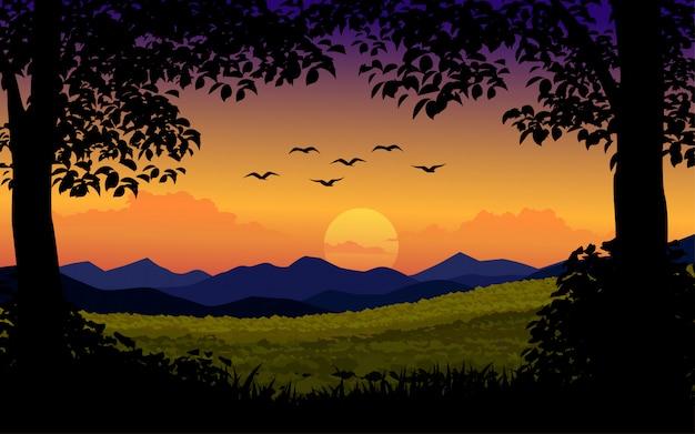 Zonsondergangachtergrond met bomen en vogels