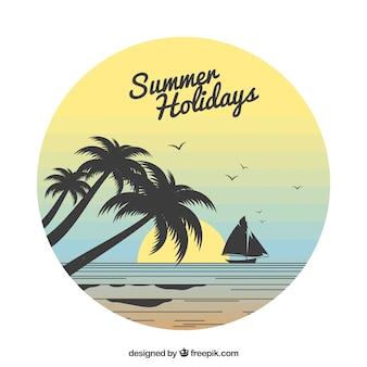Zonsondergangachtergrond met palmsilhouetten