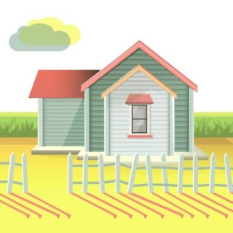 Zonsondergangachtergrond van een realistisch huis met tuin