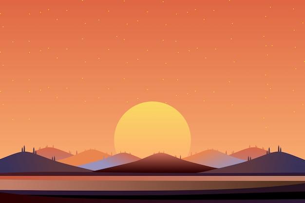 Zonsonderganghemel en overzees met bergachtergrond