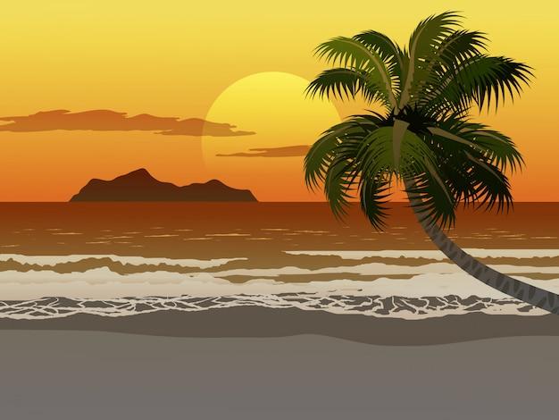 Zonsondergangillustratie van tropisch strand met kokospalm