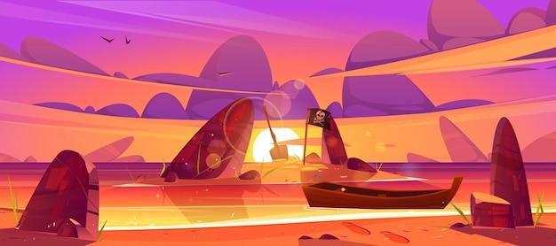 Zonsonderganglandschap van overzeese strandboot en eiland in water met piraatvlag en de illustratie van het schopbeeldverhaal