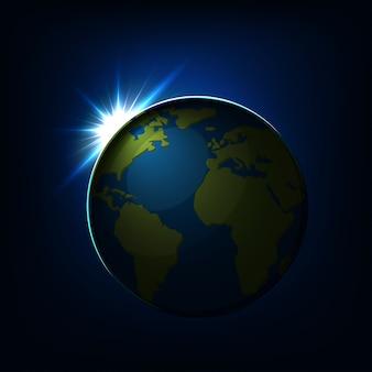 Zonsopgang boven de bol van de aarde met continenten en oceaan