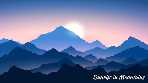 Zonsopgang in de bergen. ochtend bergen landschap. ochtend uitzicht.