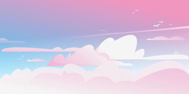 Zonsopgang in de bewolkte hemel vector kleur horizontale achtergrond van bewolkte hemel fantastically