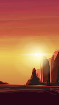 Zonsopgang in een zanderige canyon in warme oranje tinten