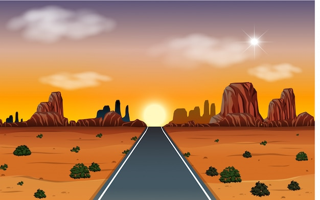 Zonsopgang in woestijn met wegscène