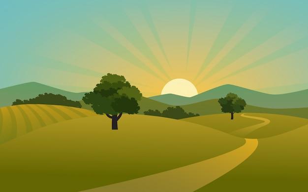 Zonsopgang op plattelandsgebied met weg