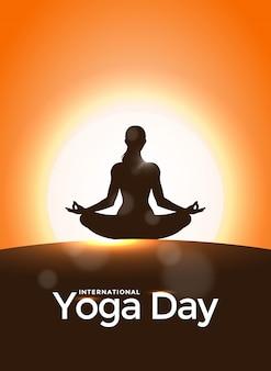 Zonsopgangachtergrond voor internationale yogadag.