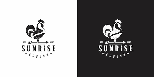 Zonsopgangkoffie met chiken-logo-ontwerp
