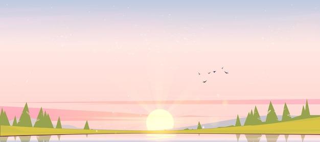 Zonsopganglandschap met meervogels in hemelsilhouetten op heuvels en bomen op kustbeeldverhaalillustratie van aardlandschap met dageraad naaldbos op rivierkust en zon op horizon