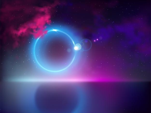 Zonsverduistering of maansverduistering met lichtstraal, straal scheur weg van verborgen maanschijf