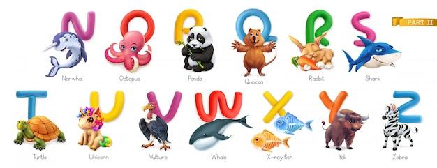 Zoo alfabet. grappige dieren, 3d geplaatste pictogrammen. letters n - z. narwal, octopus, anda, quokka, konijn, haai, schildpad, eenhoorn, gier, walvis, röntgenvis, jak, zebra