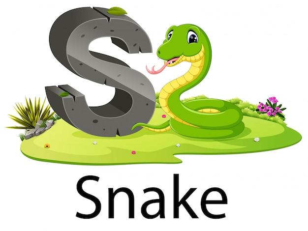 Zoo animal alphabet s voor snake met de goede animatie