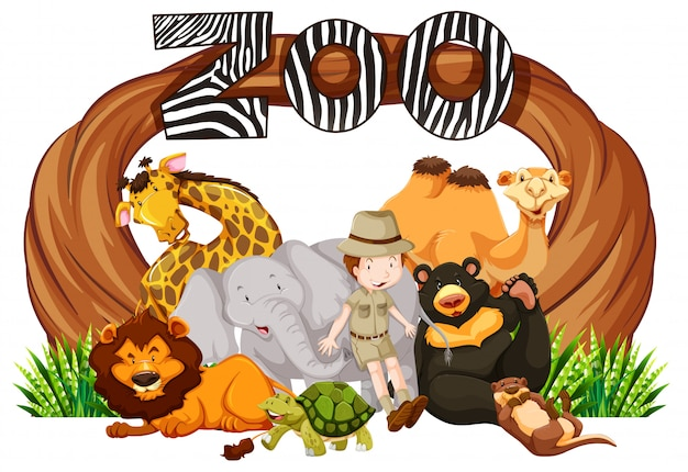 Zookeeper en wilde dieren bij dierentuiningang