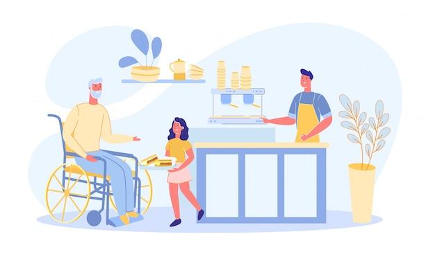 Zoon en kleindochter brengen voedsel naar grootvader