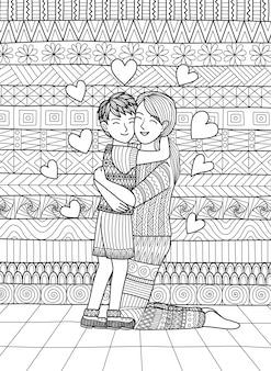 Zoon en moeder geven een knuffel