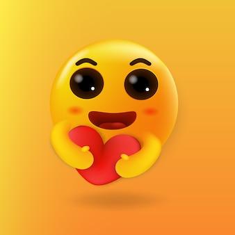 Zorg schattige emoji knuffelen een rood hart