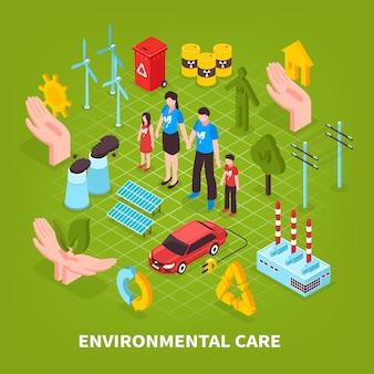 Zorg voor het milieu groene scène