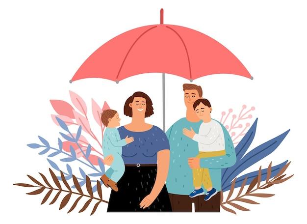 Zorg voor je gezin. bescherming van mensen, schattige ouders met kinderen onder paraplu. verzekering vector concept