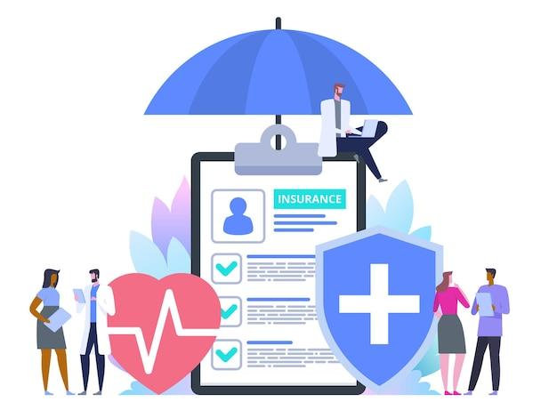 Zorgverzekering bescherming. zorg medisch met gedecoreerd karakter van kleine mensen. het invullen van medische documenten. gezondheidszorgconcept. vlak