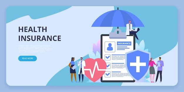 Zorgverzekering bescherming. zorg medisch met gedecoreerd karakter van kleine mensen. het invullen van medische documenten. gezondheidszorgconcept.