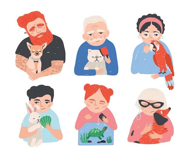 Zorgvuldige behandeling van huisdieren handgetekende collectie. mensen houden van hun dieren. kleurrijke cartoon vector illustratie set.