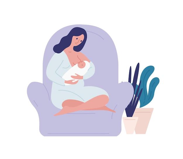 Zorgzame moeder borstvoeding pasgeboren baby thuis vlakke afbeelding
