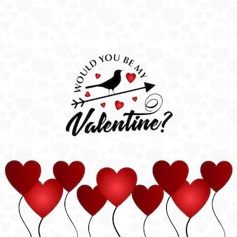 Zou je mijn valentijnskaart kaart met harten ballon zijn
