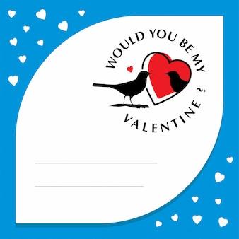 Zou jij mijn valentijn zijn met een blauw hartenframe