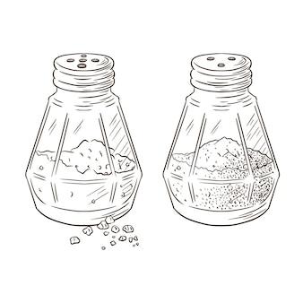 Zout en peper shakers gegraveerde illustratie. handgetekende glazen potten die kruidenschets in vintage stijl koken voor logo, recept, menu, voedselafdrukken, etiketten, stickers, bannerontwerp. premium vector