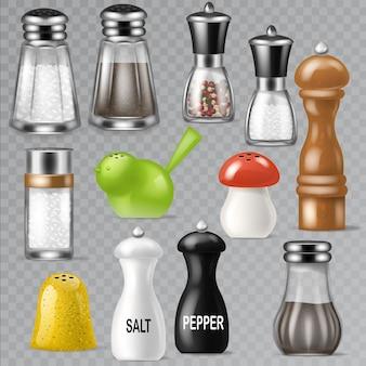 Zoutvaatje ontwerp peper fles glazen container en houten keukengerei zoutvaatje decor illustratie set van zoute koken ingrediënten zwarte peper geïsoleerd op transparante achtergrond