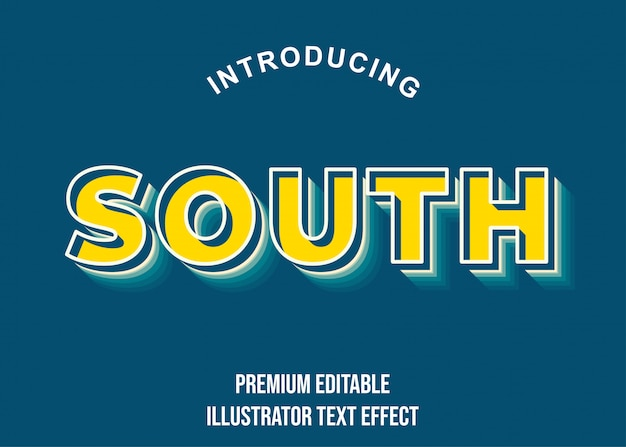 Zuid - 3d geelblauwe teksteffectstijl