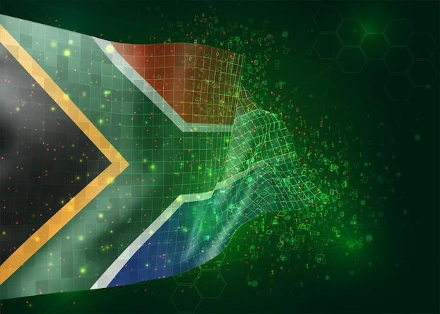 Zuid-afrika, op vector 3d-vlag op groene achtergrond met veelhoeken en gegevensnummers