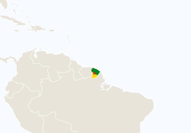 Zuid-amerika met gemarkeerde kaart van frans-guyana. vectorillustratie.