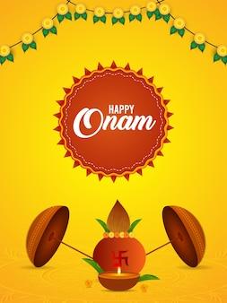 Zuid-indiase festival gelukkige onam-vieringskaart