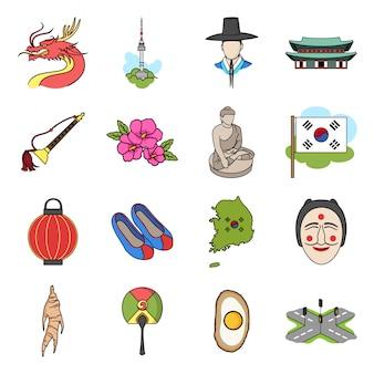 Zuid-korea cartoon ingesteld pictogram