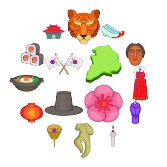 Zuid-korea iconen set, cartoon stijl