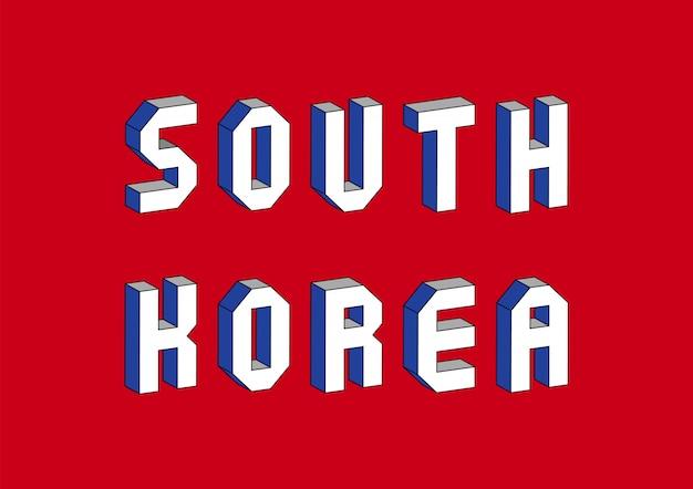 Zuid-korea tekst met 3d isometrisch effect