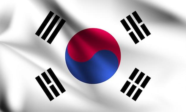Zuid-korea vlag waait in de wind. onderdeel van een serie. wapperende vlag van zuid-korea.